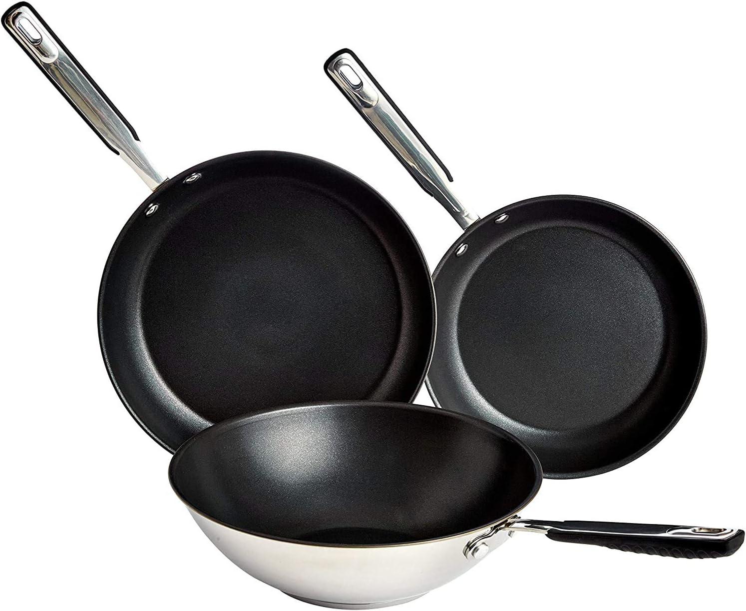 Amazon Basics Juego de Utensilios de Cocina de Inducción - 3 Piezas, Sartenes y Wok, Antiadherentes, Acero Inoxidable - 24/28/28 cm