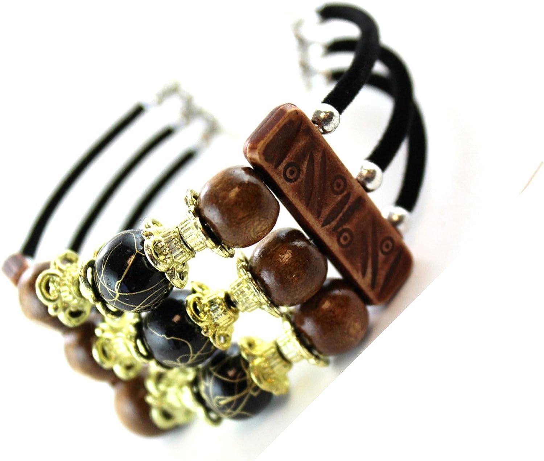 Tribal Wood Bead Bracelet Cuff (Black Bead)