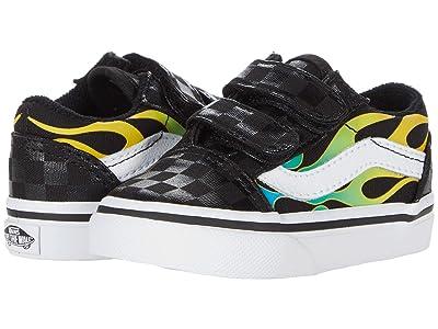 Vans Kids Old Skool V (Infant/Toddler) ((Glow Flame) Black/True White 1) Boys Shoes