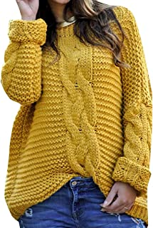 Womens Long Sleeve Sweater Pullover Ribbed Cable Knit Jumper Sweater Tops