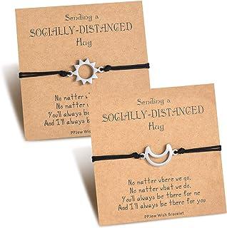 PPJew Socially Long Distance Matching Relationship Bracelet Set Couple Friendship Bracelets for Women Best Friends Girlfri...