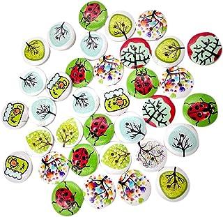 Harilla Lote de 50 botões decorativos de madeira redondos coloridos com 2 furos para costurar