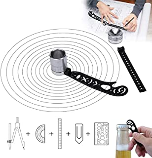 Mandala guide tool, magnetic design multi-function drawing tool, mini protractor combination with compass, for artists, en...