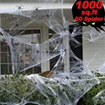 Halloween Spider Web Decorations, Super Stretch Large Spider Web with 60 Plastic Fake Spider Halloween Party Indoor & Outdoor Props 800 sq ft