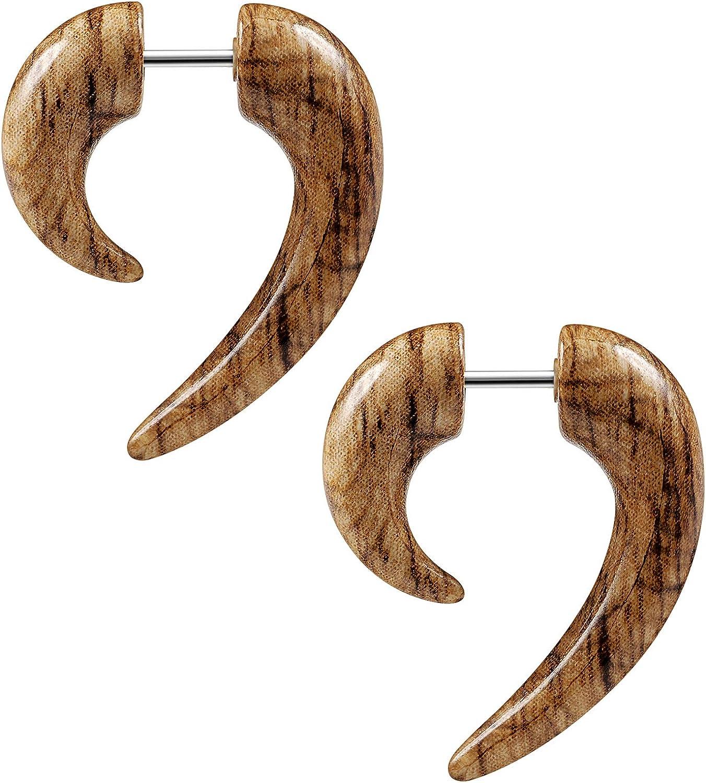 BIG GAUGES Pair of Acrylic 16g Gauge 1.2mm Fake Plugs Wood Piercing Jewelry Ear Plug Stretching Expander Taper Earring