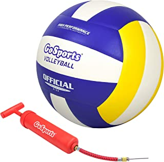 GoSports Indoor Competition Volleyball - Made from Synthetic Leather - Includes Ball Pump - Regulation Size and Weight (Ch...