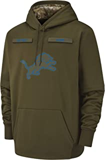Dunbrooke Apparel Men's Detroit Lions Therma Fit Pullover Salute to Service Hoodie