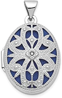 14k White Gold 21mm Oval Diamond Vintage Photo Pendant Charm Locket Chain Necklace That Holds Pictures Fine Jewelry Gifts For Women For Her