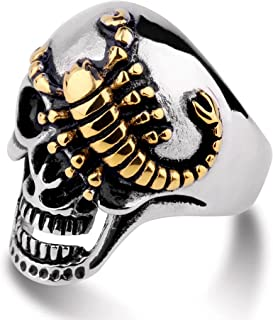 MYLYAHY Rock Gothic Biker Punk Skull Rings for Men Stainless Steel/Alloy Cool Bar Club Party Halloween Party Rings Jewelry