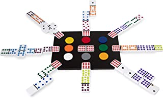 El Tren Mexican Train Dominoes Set, Double 12 Train Domino Game Set with Color Tiles in Acrylic Box with Black Acrylic Hub and Color Markers