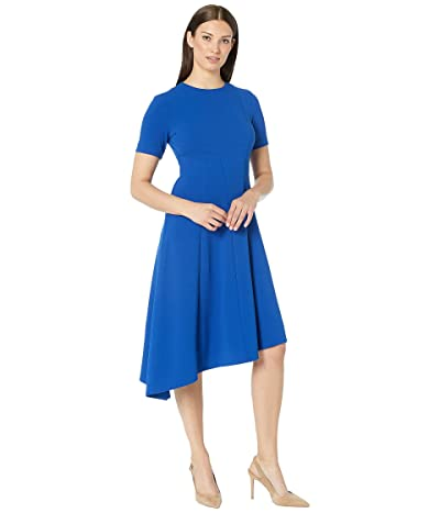 Donna Morgan Short Sleeve Asymmetric Hem Fit and Flare Crepe Dress (Blue Sapphire) Women