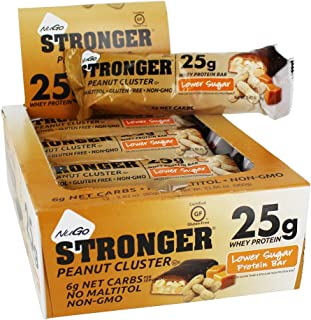 NuGo Stronger Peanut Cluster, 23g Whey Protein, 10g Fiber, Gluten Free, 12 Count