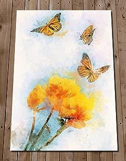 Butterfly Art Print Watercolour Painting - Garden Home Decor - Monarch Butterfly Spring Flower Poster - Kitchen Wall Art