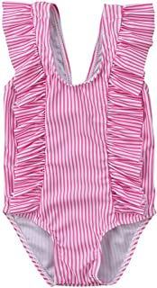 GSHOOTS Baby Girls' Striped Swimsuit Ruffle Bathing Suit Beach Swimwear Sleeveless One-Piece