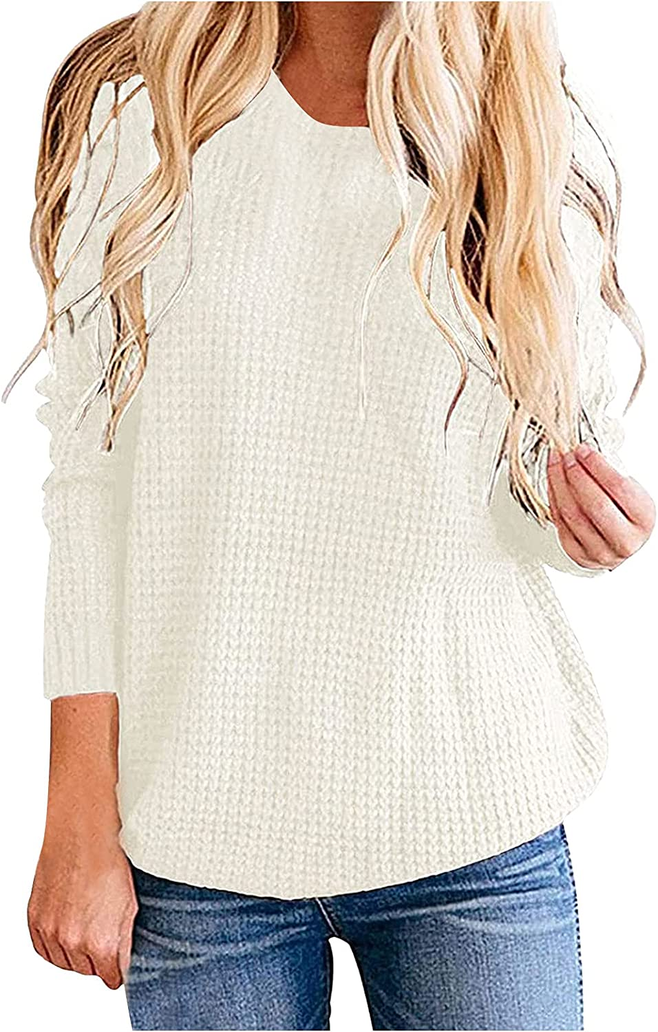 Womens Sweaters Plus Size Tops Long Sleeve Round Neck Knit Casual Loose Oversized Pullover T-Shirts