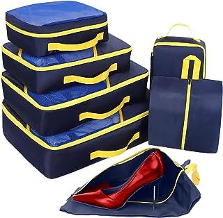 Set di 7 Organizer Valigie, Cubi per Valigia, Faxsthy Viaggio Dei Bagagli Organizzatore per i Vestiti Scarpa Cosmetico (Bl...