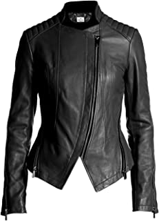 VearFit Tranqum Moto Clasic Real Leather Jacket for Women Winter Biker