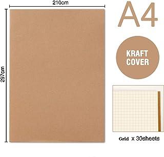 YILEEY Pack de 5 cuadernos, A4 Tapa de Kraft Blanda Cuadrícula 60 ...