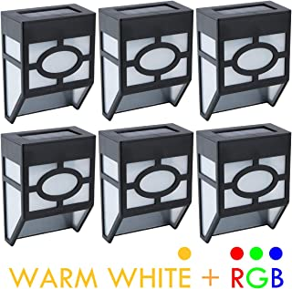 Lvyinyin Outdoor Solar Battery LED Wall Lights, Decorative Deck, Garden, Fence Post, Patio, Front Door, Stair, Landscape, Yard, Driveway, Path Lighting, Warm White & RGB Color Changing, 6 Packs