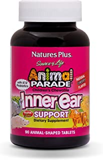 NaturesPlus Animal Parade Source of Life Chewable Inner Ear Support - Natural Cherry Flavor - 90 Animal Shaped Tablets - Probiotic Supplement - Gluten-Free - 45 Servings