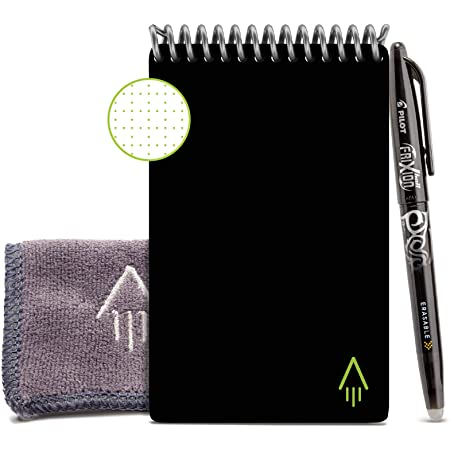 "Rocketbook Smart Reusable Notebook - Dotted Grid Eco-Friendly Notebook with 1 Pilot Frixion Pen & 1 Microfiber Cloth Included - Infinity Black Cover, Mini Size (3.5"" x 5.5"")"
