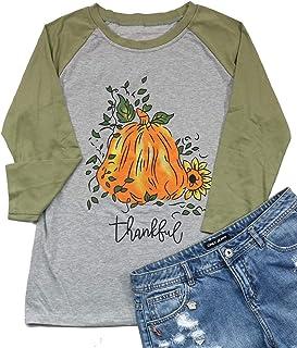 Thanksgiving Shirts Womens Thankful Pumpkin and Sunflower 3/4 Sleeve Raglan Baseball Graphic Tee Tops