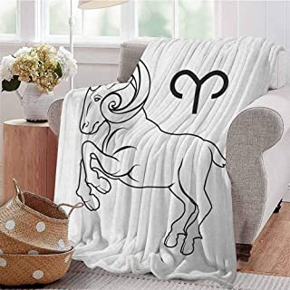 Luoiaax Zodiac Aries Luxury Special Grade Blanket Monochrome Hand Drawn Style Jumping Horned Animal and Horoscope Sign Multi-Purpose use for Sofas etc. W60 x L50 Inch Black and White
