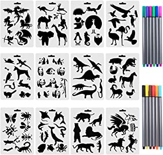 URlighting Drawing Animal Stencils Set(12 Pcs) Painting Templates with 10 Fineliner Color Pen for Children Creation, Anima...
