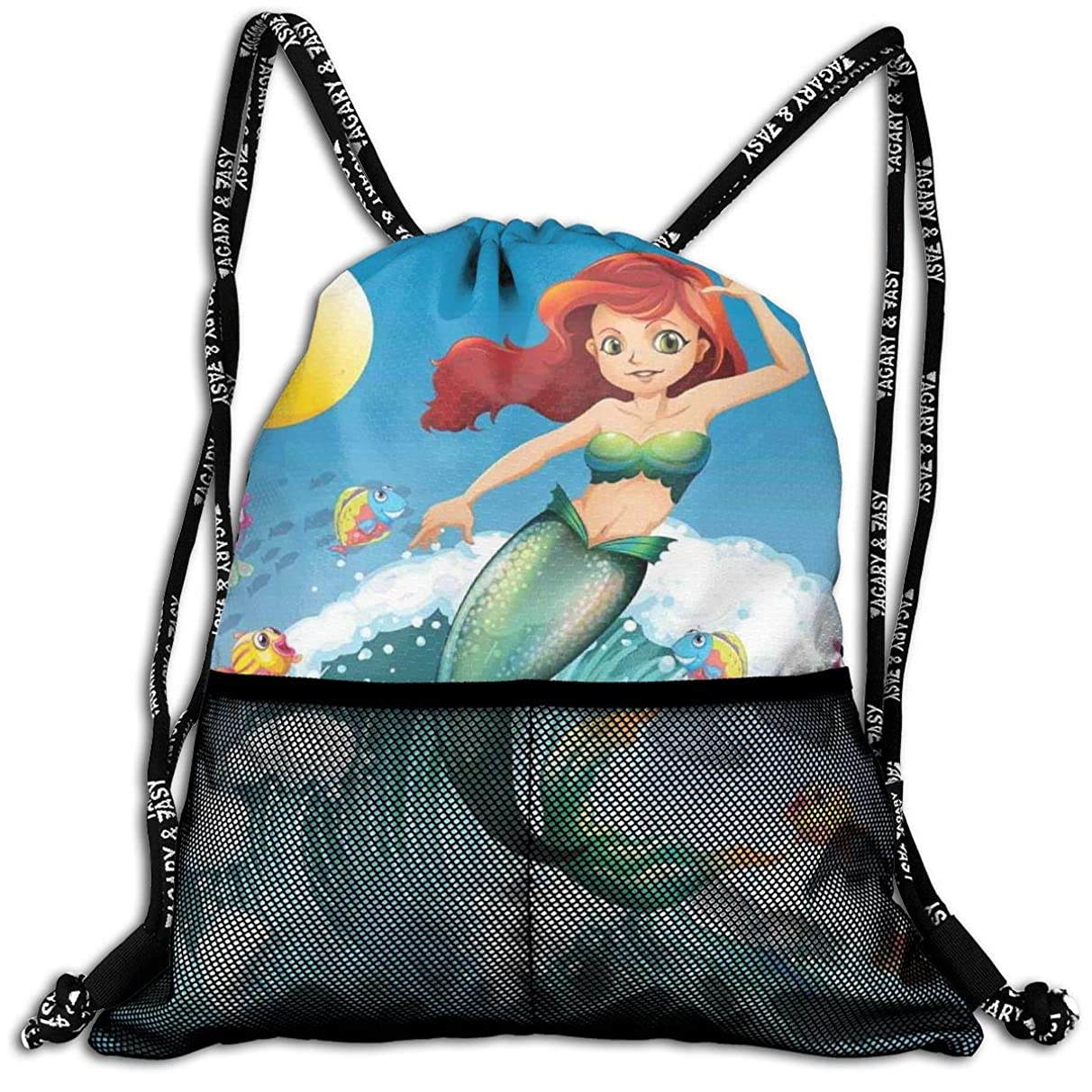 Drawstring Backpacks Bags,Illustration Of Cute Little Mermaid On Top Of A Big Wave In The Surf With Fish Kids,5 Liter Capacity,Adjustable