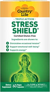 Country Life Triple Action Stress Shield - 60 Vegan Capsules - Support Emotional Well-Being & Energy - Reduces Fatigue