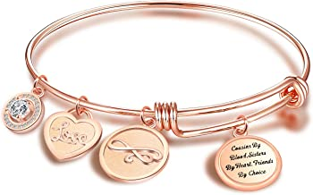 FEELMEM Cousins Christmas Gift Cousins By Blood Sisters By Heart Friends By Choice Bangle Bracelet Cousin Jewelry Gift for Cousin BBF Best Friend