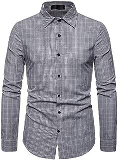 LUCKYMEN Men's Regular-Fit Long Sleeve Work Casual Poplin Shirt Plaid Slim Fit Button Down Dress Shirt