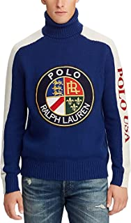 Polo Downhill Skier Men's Wool Graphic Turtleneck Sweater Royal Multi XXL
