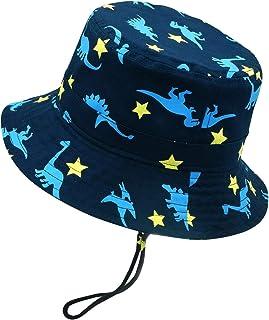 Bebé Sombrero Pescador para Niños Niñas Primavera Verano Bucket Hat Infantil Gorra de Sol con ala de Estampado de Dinosaurio para Playa Viajes Vacaciones Algodón - 6 Meses-8 Años