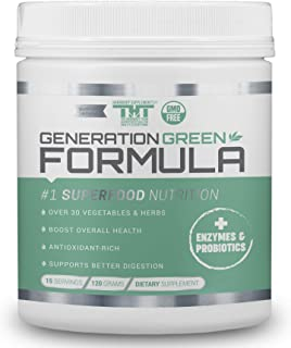 Generation Greens Powder | Organic Superfood Powder with Spirulina, Chlorella, Wheat Grass | 60 Powerful Su...