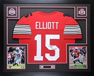 Ezekiel Elliott Autographed Red Ohio State Jersey - Beautifully Matted and Framed - Hand Signed By Ezekiel Elliott and Certified Authentic by Auto JSA COA - Includes Certificate of Authenticity