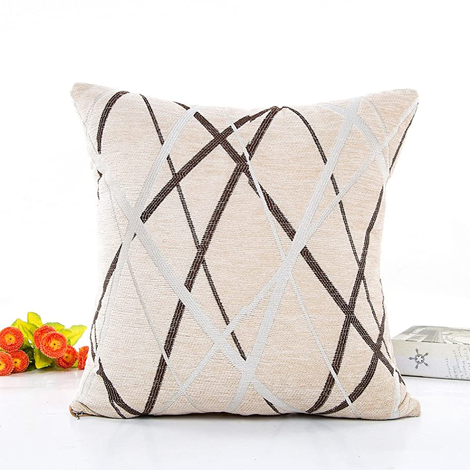 JCarry Throw Pillow Cover for Couch 42x42cm, Chenille Ray Stripe Pattern Pillow Cases, Plush Soft Waist Cushion Cover, Decorative Sofa Cushion Covers for Living Room,Bedroom,Car (Beige)