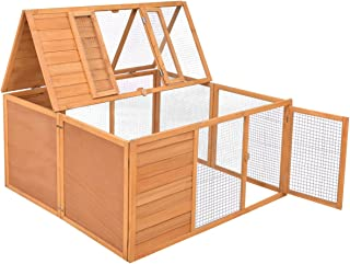 "Tangkula Chicken Coop, Wooden Garden Backyard Bunny Chicken Rabbit Duck Small Animals Cage with 2 Doors,Hen House (47"")"