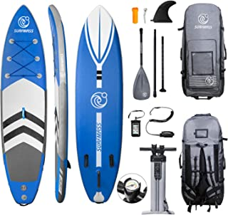 "SURFMASS Inflatable SUP 11' L x 6"" T x 32"" W Stand Up Paddle Board Stance iSUP with Adjustable Fiberglass Paddle, Dual Chamber Hand Pump, Wheeled Travel Backpack, Safety Ankle Leash, Fin"