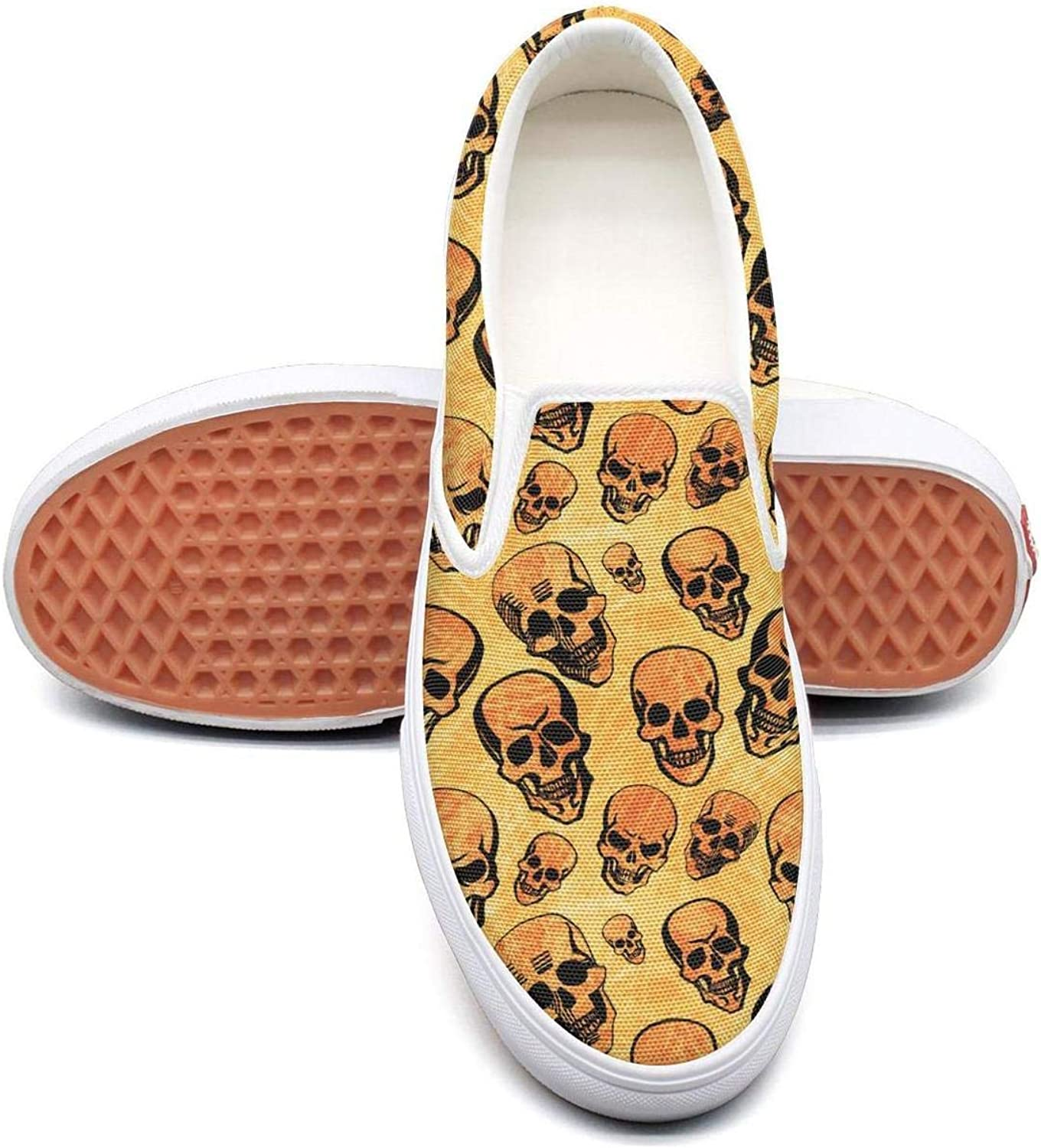 Uieort Haloween Skeletons Skulls Womens Slip On Canvas shoes Casual