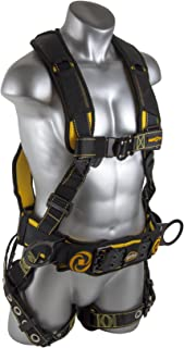 Guardian Fall Protection 21034 Cyclone Construction Harness with QC Chest/QC Leg/TB Waist Belt/Side D-Rings, Black/Yellow