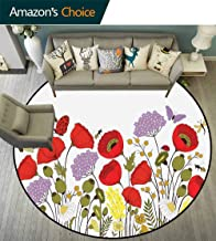 Green Flower Toilet Bathroom Mat Hand Drawn Nature Scene with Foliage and Fauna Elements Honey Bees Butterflies for Computer Chair & Coffee Table Multicolor Diameter-31