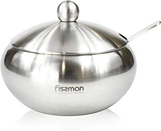 Sugar bowl 460 ml with steel lid and spoon (stainless steel)