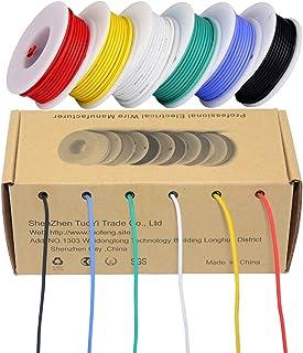 22ゲージ電気ワイヤー、着色ワイヤーキット柔軟なシリコンワイヤー(6種類の異なる色の8メートルのスプール)