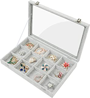 Stylifing Ice Velvet Clear Lid 12 Grid Jewelry Tray Showcase Removable Display Lockable Storage Box for Girls Women