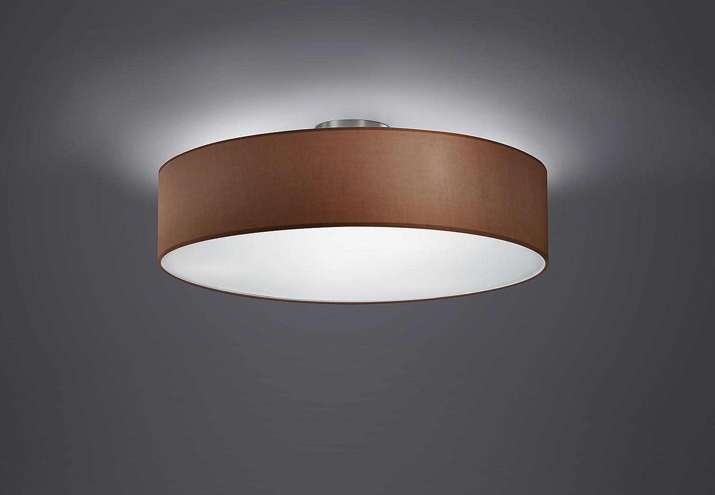 Trio Leuchten Deckenleuchte in nickel matt, Stoffschirm weiß 603900301 Deckenleuchte D. 5cm Braun