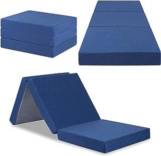 SLEEPLACE 04TM02S 4 Inch Tri-Folding Topper Mattress, Single, Blue