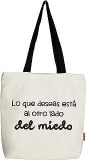 Hello-Bags. Bolso Tote. Algodón 100%. Modelo LOQUEDESEAS. Blanco. con Cremallera, Forro y Bolsillo Interior. 37 * 38 cm. I...