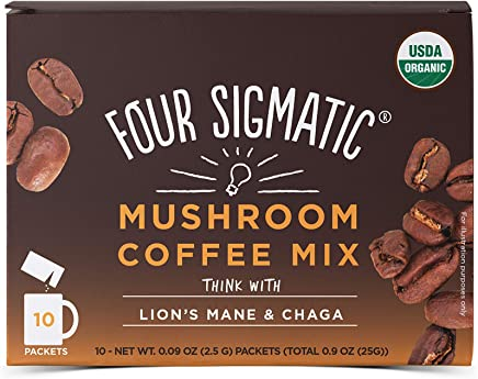 FOUR SIGMATIC Mushroom Coffee with Lions Mane and Chaga (10 Packets), 2.5g