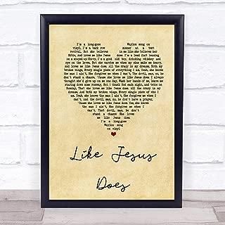 CEDBUYOO Eric Church Like Jesus Does Vintage Heart Song Lyric Print 10
